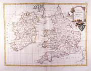 Old Map Digital Art Framed Prints - Kingdom Of England And Ireland Framed Print by Fototeca Storica Nazionale