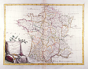 Old Map Digital Art Framed Prints - Kingdom Of France Divided Into Its Governments Framed Print by Fototeca Storica Nazionale