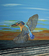 Lesvos Acrylic Prints - Kingfisher of Eftalou Acrylic Print by Eric Kempson