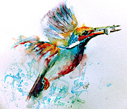 Abstract Wildlife Paintings - Kingfisher by Steven Ponsford