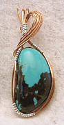 Handcrafted Jewelry - Kingman Turquoise pendant in Copper wire by Linda Ray