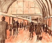 Sepia Ink Drawings - Kings Cross Railway Station London England by Carol Wisniewski