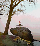 Charles River Mixed Media Prints - Kingsland Point Park Lighthouse Print by Charles Shoup