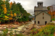 Grist Mill Prints - Kingsley Grist Mill with Kingsley Bridge Print by Dennis Clark