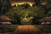 Gardens Digital Art Originals - Kingwood Garden Fountain by Mary Timman
