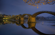 Illuminated Tapestries Textiles - Kintai Bridge In Iwakuni by Karen Walzer