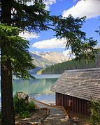 Glacier National Park Posters - Kintla Lake Ranger Station Glacier National Park Poster by Marty Koch