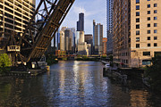 Water St Chicago Photos - Kinzie St Bridge in Chicago by Jeremy Woodhouse
