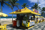 Atlantic Ocean Metal Prints - Kiosk on Ipanema Beach Metal Print by George Oze