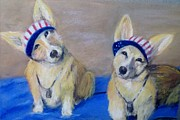 Corgies Framed Prints - Kipper and Tristan Framed Print by Trudy Morris