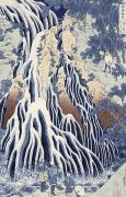 Waterfalls Painting Metal Prints - Kirifuri Fall on Kurokami Mount Metal Print by Hokusai