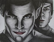 Spock Drawings Prints - Kirk and Spock Print by Eric McGreevy