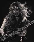 Black And White. Drawings - Kirk Hammett by Kathleen Kelly Thompson