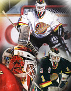 Hockey Goalie Posters - Kirk Mclean Collage Poster by Mike Oulton