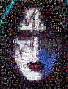 Rock Band Mixed Media Prints - KISS Ace Frehley Mosaic Print by Paul Van Scott