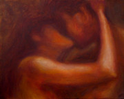 Couple Paintings - Kiss by Ann Moeller Steverson