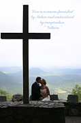 Nuptials Framed Prints - Kiss by the Cross Framed Print by Kelly Hazel