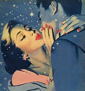Couple Embracing Prints - Kiss Goodnight Print by English School
