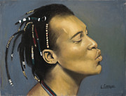 Black Man Pastels - Kiss by L Cooper