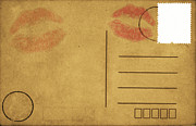 Love Letter Prints - Kiss Lips On Postcard Print by Setsiri Silapasuwanchai