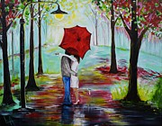 Couple In Arms Posters - Kiss Me In The Rain Poster by Leslie Allen
