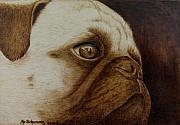 Sepia Pyrography Originals - Kiss Me by Jo Schwartz