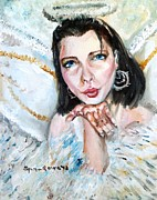 Gold Earrings Painting Framed Prints - Kiss of an Angel Framed Print by Shana Rowe