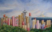 Seattle Drawings Acrylic Prints - Kiss of Seattle Acrylic Print by Mary Jo Jung