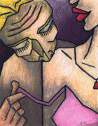 Cubism Pastels - Kiss on the Shoulder by Kamil Swiatek