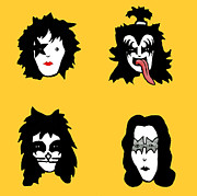 Gene Simmons Framed Prints - Kiss on yellow Framed Print by Jera Sky