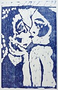 Woodcut Reliefs Posters - Kiss Poster by Preston -