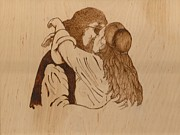 Wedding Pyrography Prints - Kiss The Bride Print by Cheret Adar