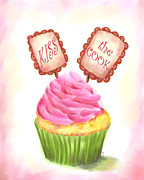 Baking Painting Posters - Kiss the Cook Cupcake Art Poster by Jai Johnson
