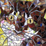 Stained Glass Art - Kissa by Barbara Benson Keith