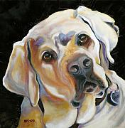 Retriever Drawings Posters - Kissably Close Lab Poster by Susan A Becker