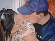 Baseball Pastels Prints - Kisses for Baby Print by Terri Thompson