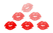 Red Lips Photos - Kisses in pyramid shape by Blink Images
