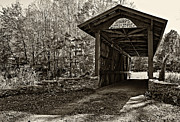 Wall Stone Wall Framed Prints - Kissing Bridge sepia Framed Print by Steve Harrington