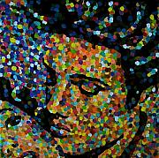 Pointillism Originals - Kissing Elvis by Denise Landis