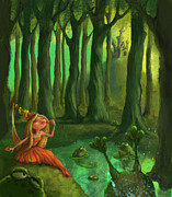 Woods Digital Art Posters - Kissing Frogs Poster by Andy Catling