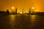 Charles Bridge Prints - Kissing on the Charles Bridge Prague Print by Les Abeyta