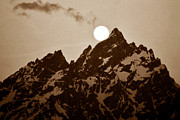 Moon Set Prints - Kissing the Teton Print by David Lee Thompson
