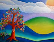 Metaphysical Paintings - Kissing Tree and Hills by Lori Miller