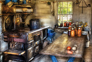 Antique Wood Burning Stove Posters - Kitchen - Home Country Kitchen  Poster by Mike Savad