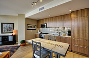 Hardwood Flooring Posters - Kitchen and Dining Area in Upscale Condo Poster by Andersen Ross