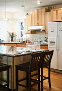 Apartment Framed Prints - Kitchen Counter and Stools Framed Print by Andersen Ross