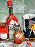 Pepper Painting Metal Prints - Kitchen Counter Metal Print by Carole Foret