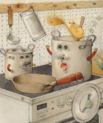 Pot Drawings Metal Prints - Kitchen Metal Print by Kestutis Kasparavicius