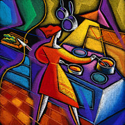 Women Together Painting Prints - Kitchen  Print by Leon Zernitsky