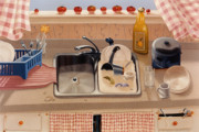 Still-life Posters - KITCHEN SINK bubba lees 1997  Skewed perspective series 1991 - 2000 Poster by Larry Preston